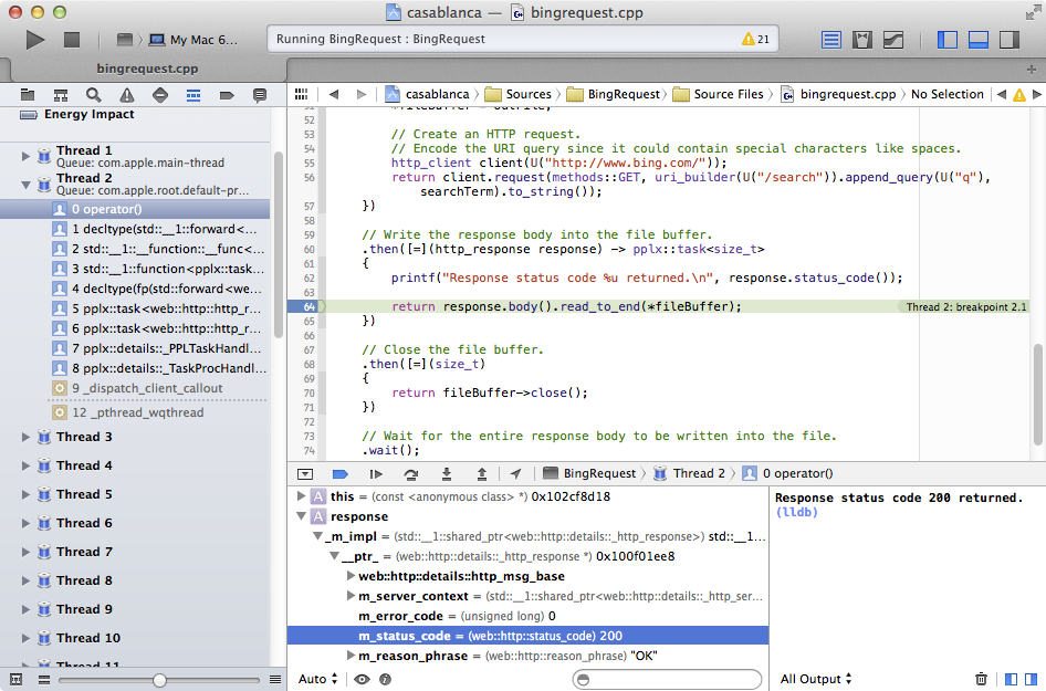 BingRequest in Xcode under debugger