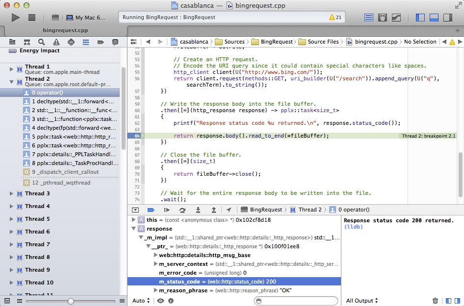 BingRequest in Xcode under debugger