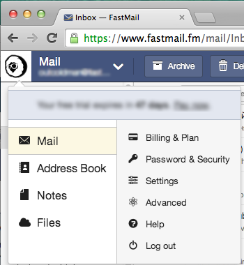 Settings FastMail